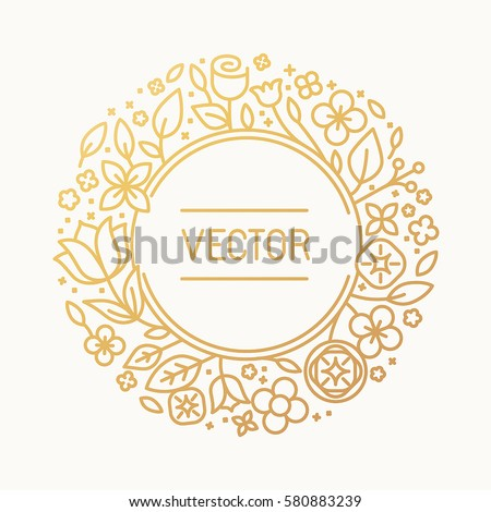 Vector vintage frame in trendy linear frame for florist shops and organic cosmetics - monogram design template with copy space for text with leaves and flowers and circle background in golden colours