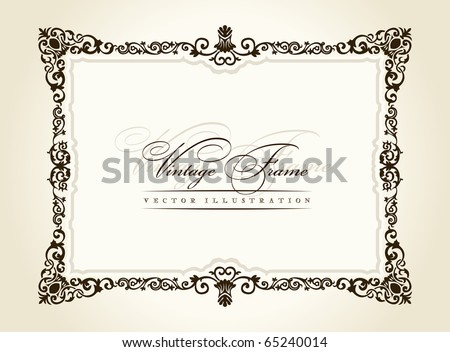 Vector vintage frame retro decor ornament old