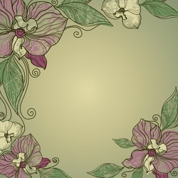 Vector vintage frame with flowers - orchid (from my big