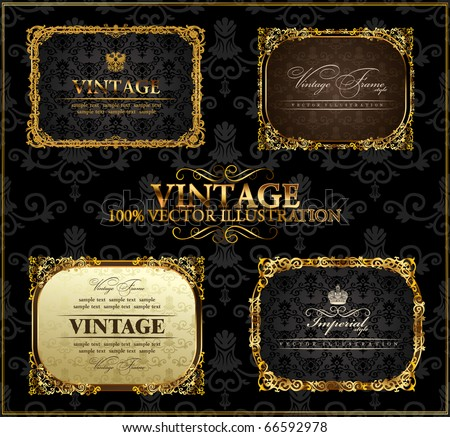 Vector vintage Gold black frames decor set label. Gold frame decor ornament. Vector calligraphic border frame. Baroque gold ornament and vintage  flourish border. Royal frame. Elegant gold book frame.