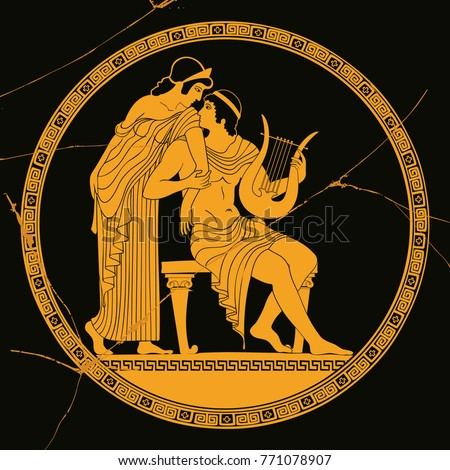 Vector vintage Greek national drawing. Mythological plot Paris steals Elena. Drawing on the bottom of the black antique plate with a crack.