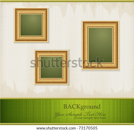 Vector vintage green abstract background with three gold frames - stock vector