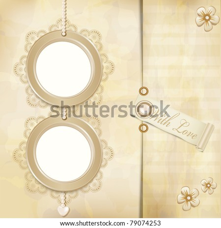 vector vintage, grunge background with two round photo frames and lace