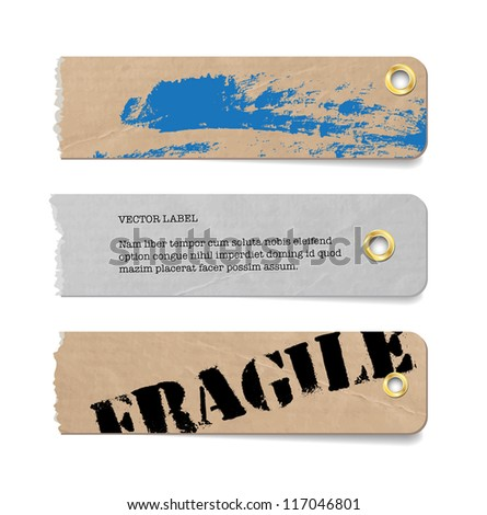 Vector vintage grungy torn old paper tags / banners / labels with metallic perforations and hand painted brush stroke background