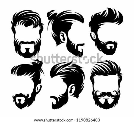 Vector vintage hairstyle barber shop logo for your design
