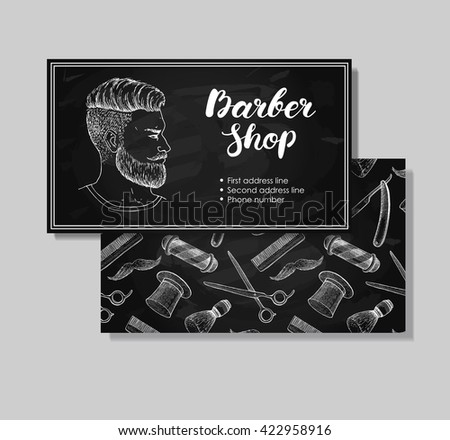 Barber shop logo template download free vector art stock graphics vector vintage hand drawn barber shop business cards detailed illustrations of hipster man with beard colourmoves