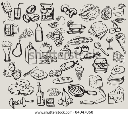 vector vintage hand drawn of food