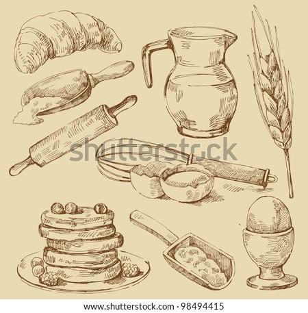 vector vintage hand drawn of kitchen