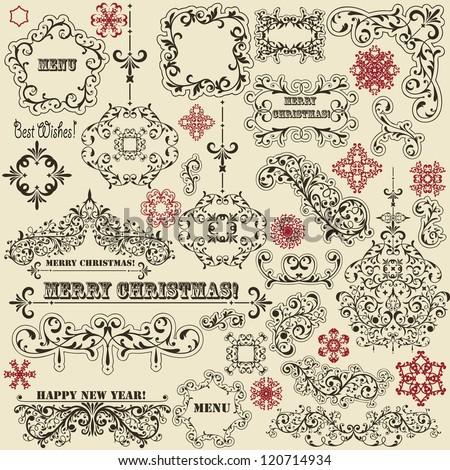 vector vintage holiday floral