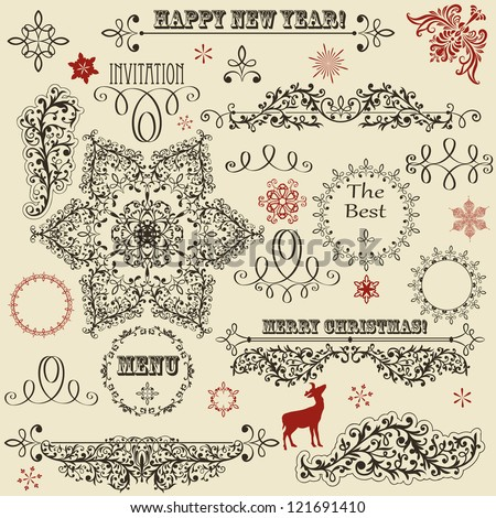 vector vintage holiday floral  design elements  and snowflakes, fully editable eps 8 file, standard AI fonts: rosewood std, eccentric std, gabriola