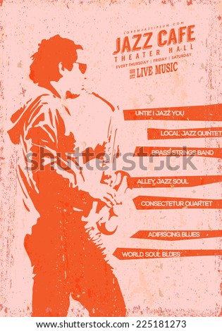 Vector Vintage Jazz music poster template Stencil illustration of a young man playing sax Texture effects can be turned off