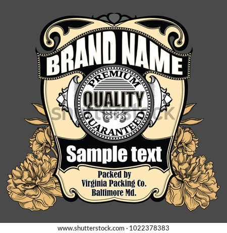 Vector vintage label with ornamentation and blooming flowers on background.  Awesome design template in retro style. Premium quality guaranteed.