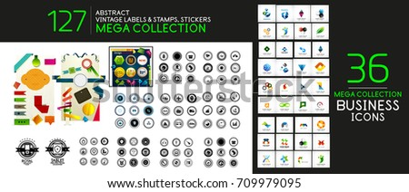 Vector vintage labels, sticker, stamps, price tags and other. Business symbols. Mega collection of icons