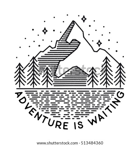 Vector vintage landscape with mountain peaks end graphic elements. Adventure is waiting. Motivational and inspirational typography poster with quote. Line design
