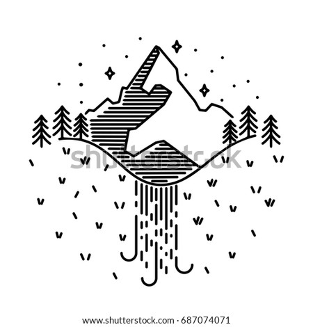 Vector vintage landscape with mountain peaks, waterfall end graphic elements. Line design