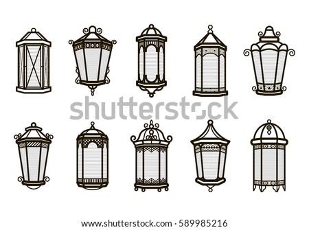 Vector Vintage Lantern Set Isolated On White Classic Antique Light Ancient Retro Lamp Design