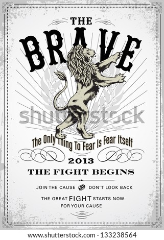 ShutterStock Vector Vintage Lion Poster Easy to edit All layers are ...