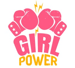 Vector vintage logo for a boxing with two pink gloves. Retro emblem for women boxing. Poster Girl power