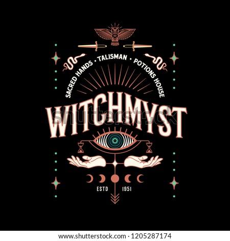 Vector vintage logo, label, poster design. Mystical celestial illustration with owl, hands, eye, snake, dagger, moon.