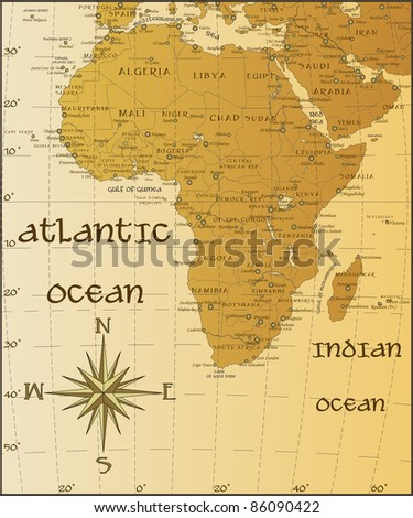 Vector vintage map of Africa
