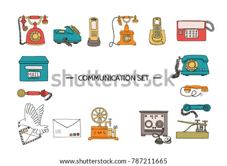Vector vintage means of communication set. Retro collection of wired rotary dial telephone, radio phone, telegraph, receiver, pigeon post, letter, stamps. Bright and cheerful illustration.