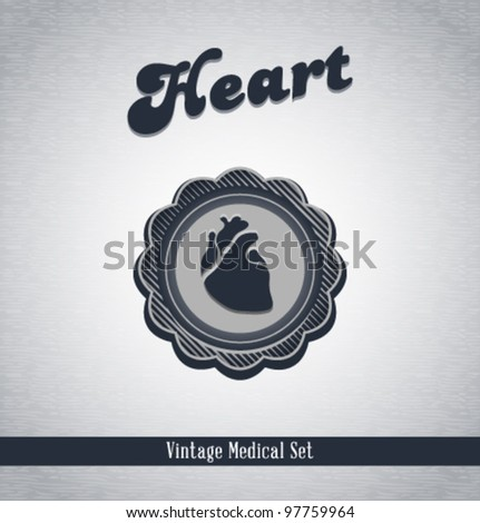 Vector vintage medical icons / Heart / series of icons - stock vector