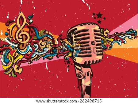 vector vintage microphone on