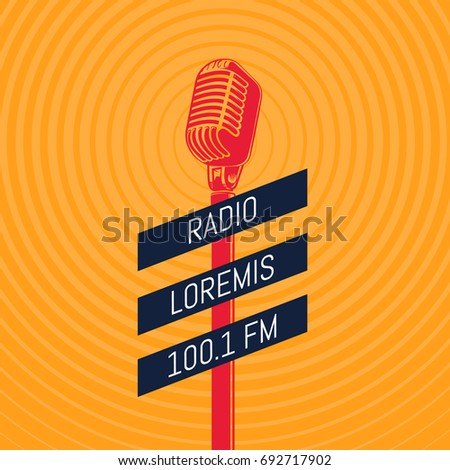 Vector vintage microphone radio illustration on radio signal circles background