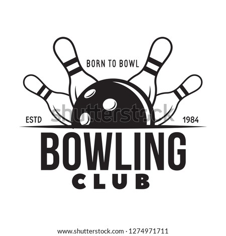 Vector vintage monochrome style bowling logo, icon, symbol. Bowling ball and bowling pins illustration. Trendy design elements, isolated on white background.
