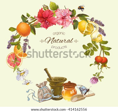 Vector vintage natural round frame with honey, hibiscus,citrus fruits and rose hip.Design for herbal and fruit tea, natural cosmetics,candy, grocery and health care products.Can be used as logo design