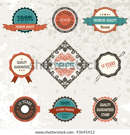 Vector vintage ornate decor elements. ornaments ribbon stamps