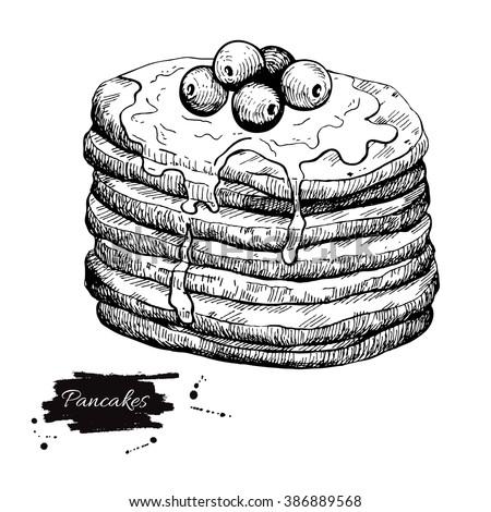 vector vintage pancake drawing