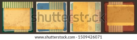 vector vintage paper labels bundle set brown classic ancient texture dirty abstract background scene edge old empty elderly set vintage messy art decorative classical tan coupon border tough ragged ma Stok fotoğraf ©