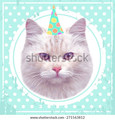 vector vintage party cat