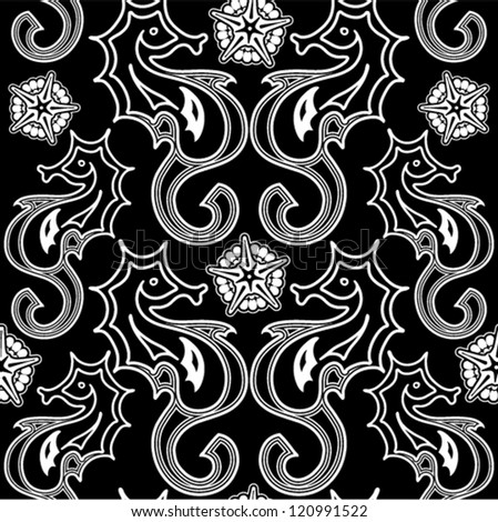 Vector vintage pattern - seahorse and starfish. (Seamless with hippocampus). Seamless pattern can be used for wallpaper, pattern fills, web page background, surface textures.