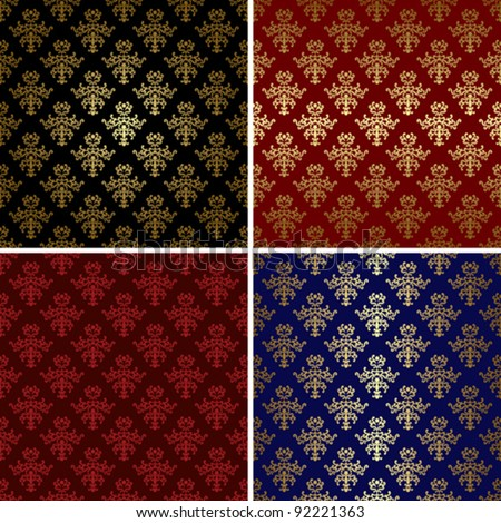 vector vintage patterns with gold tracery