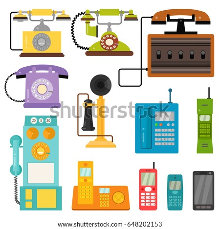 vector vintage phones retro old ...