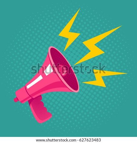 Vector vintage poster with pink megaphone on halftone background. Pink retro megaphone