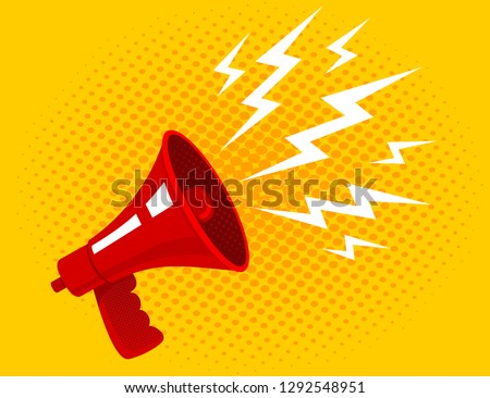 Vector vintage poster with red megaphone on yellow halftone background. Vector red megaphone.