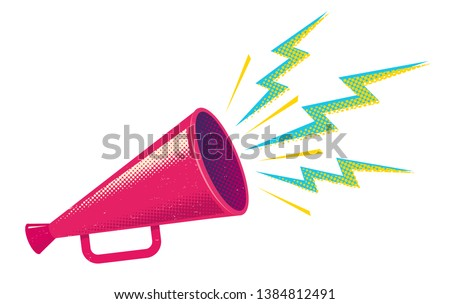 Vector vintage poster with retro pink megaphone. Retro pink megaphone on white background.