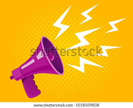 Vector vintage poster with ultraviolet megaphone on yellow halftone background. Vector purple megaphone.