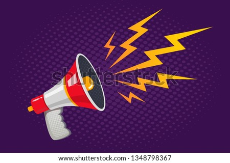 Vector vintage poster with white and red megaphone on purple halftone background. Vector retro megaphone.