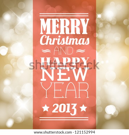 Vector vintage retro christmas label on blurred background