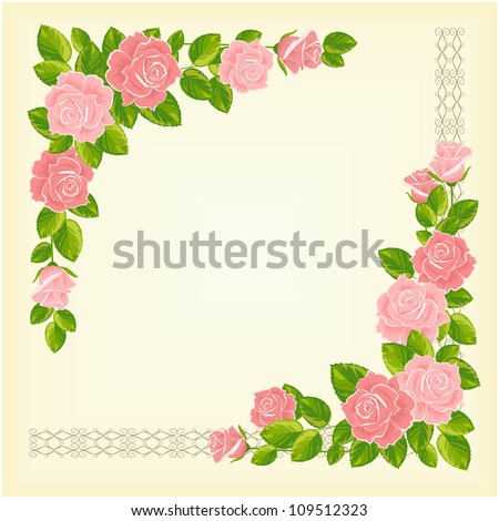 vector vintage romantic frame with roses and lace