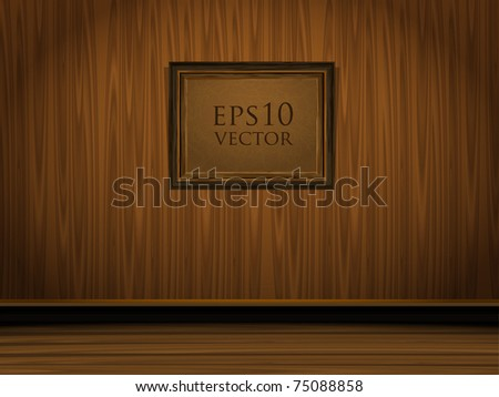 Vector vintage room with wooden floors and wall