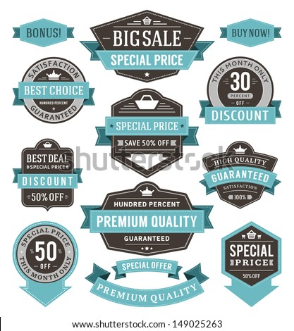 Vector vintage sale labels and ribbons set design elements Premium quality, discount, price illustrations.