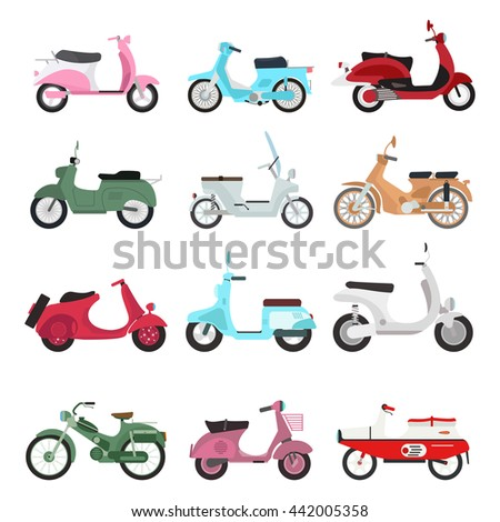 vector vintage scooters retro