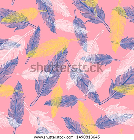 Vector vintage seamless feather pattern. Retro pattern with colorful feathers. Vintage vector feather texture.