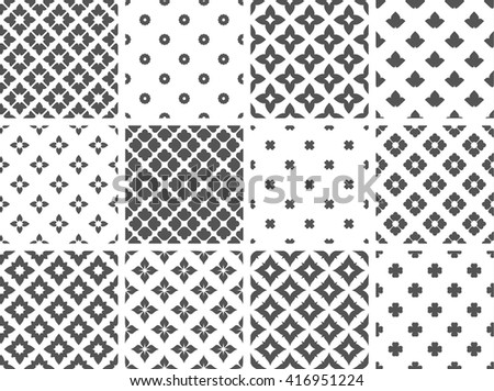 Vector vintage seamless floral patterns set. Collection of repeatable old fashioned textile designs. Cool simple flower textures.