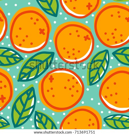 Vector vintage seamless pattern with oranges and leaves. Retro pattern with oranges.